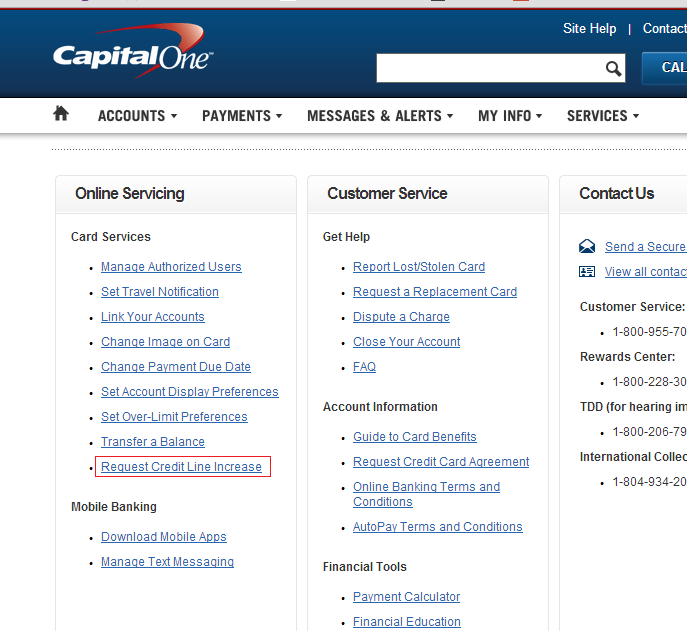 request credit line increase from capital one