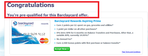 barclaycard pre-approval success
